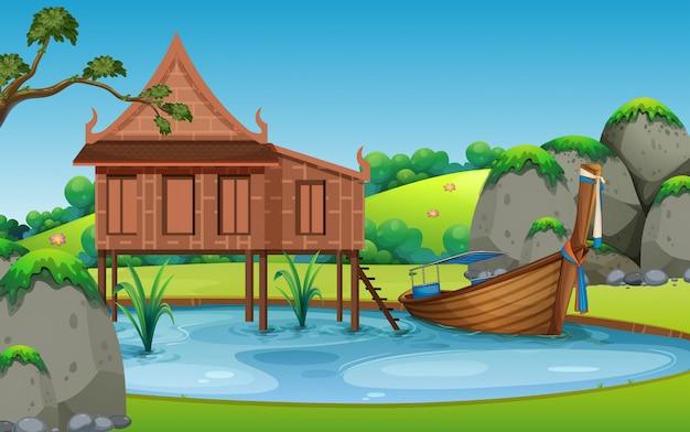 Thai tradizionale casa paesaggio