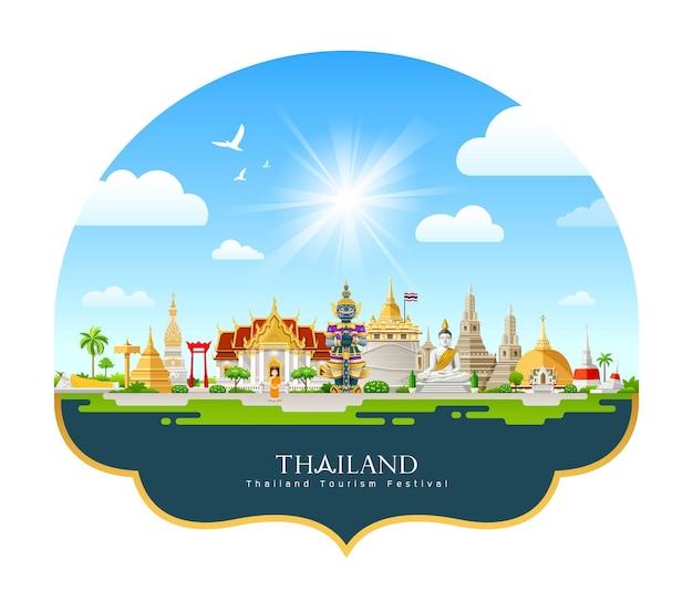 Progettazione di festival di turismo di architettura della tailandia su nuvola e cielo su fondo blu