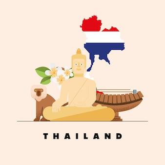Poster della cultura thailandese con icone