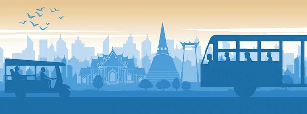 Punto di riferimento famoso della tailandia nello stile di vita di paesaggio