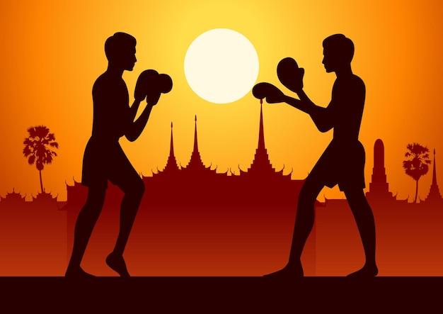 Arti marziali famose della tailandia nella progettazione del paesaggio con il disegno della siluetta, muay thai