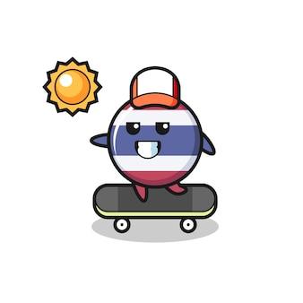 L'illustrazione del personaggio del distintivo della bandiera della thailandia guida uno skateboard, design in stile carino per maglietta, adesivo, elemento logo