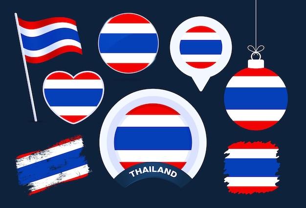 Accumulazione di vettore di bandiera della thailandia. grande set di elementi di design della bandiera nazionale in diverse forme per le festività pubbliche e nazionali in stile piatto.