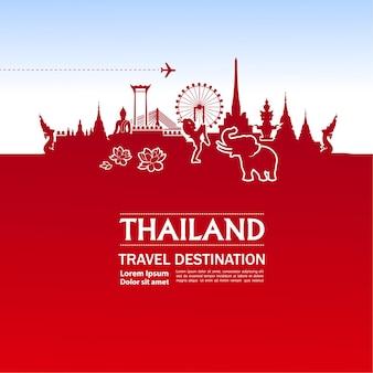 Thailandia viaggio destinazione grand illustrazione vettoriale.