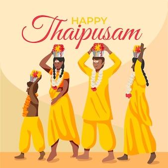 Illustrazione di thaipusam con le persone