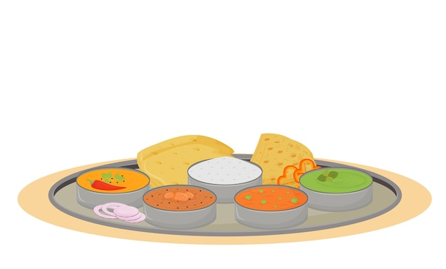 Fumetto di thali. piatto tradizionale indiano, piastra metallica con oggetto colore piatto pasti. porzione di cibo ristorante che serve, vassoio in acciaio con prelibatezze isolati su sfondo bianco