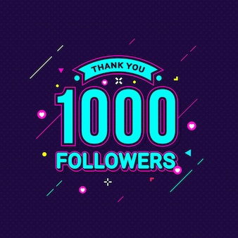 Grazie 1000 banner di congratulazioni seguaci