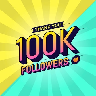 Grazie 100k seguaci banner di congratulazioni