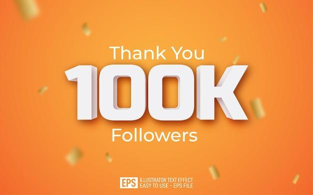 Grazie 100k follower modello di stile di testo su sfondo giallo