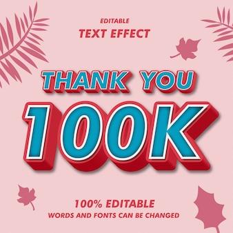 Grazie 100k effetti del testo