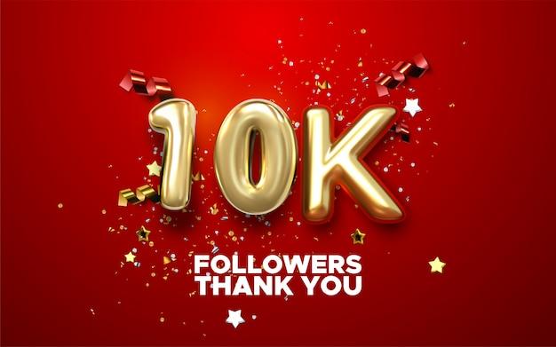 Grazie banner follower 10k. grazie seguaci carta di congratulazioni. illustrazione per i social network. l'utente web o il blogger celebra