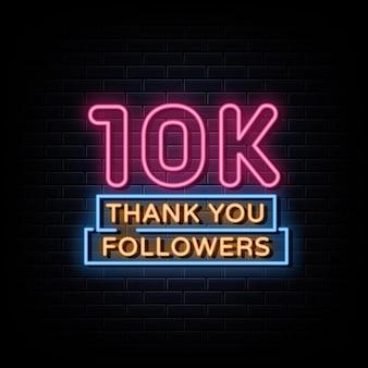 Grazie 10k follower insegne al neon in stile testo
