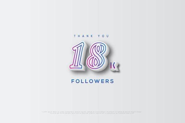Grazie 18k follower con i numeri abbozzati in mezzo ai numeri