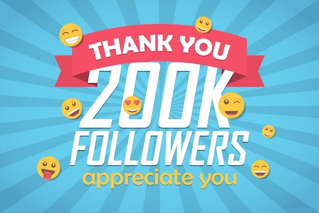 Grazie 200k follower sfondo di congratulazioni con emoticon.