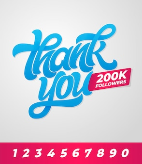 Grazie 200k follower. banner modificabile per i social media con scritte a pennello sullo sfondo. illustrazione. modello per banner, poster, messaggio, posta.