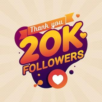 Grazie banner di congratulazioni di seguaci 20k