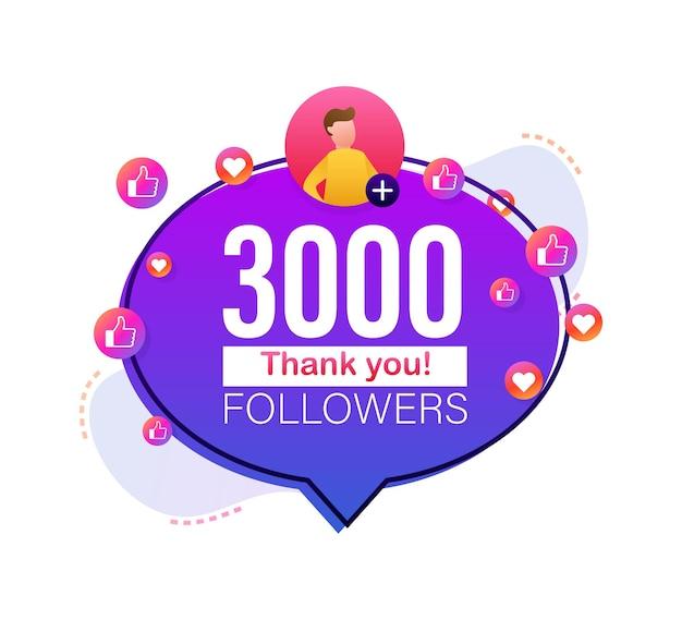 Grazie 3000 follower numeri banner in stile piatto