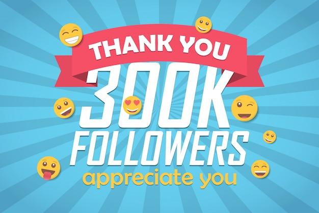 Grazie 300k follower sfondo di congratulazioni con emoticon.