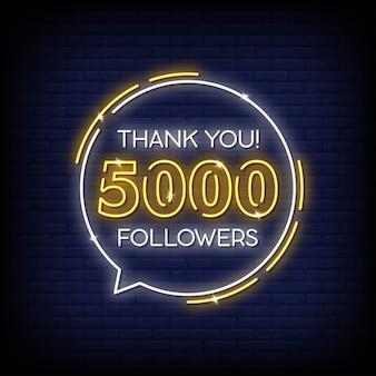 Grazie 5000 follower insegna al neon