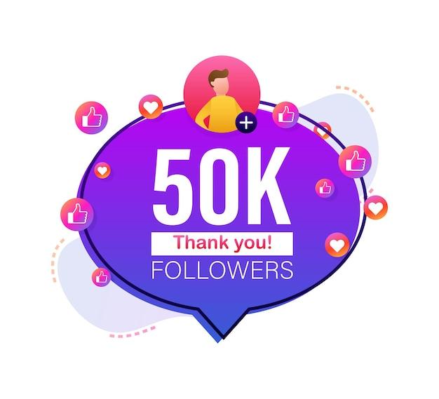 Grazie 50000 follower numeri banner in stile piatto