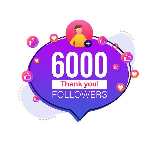 Grazie 6000 numeri di follower banner in stile piatto