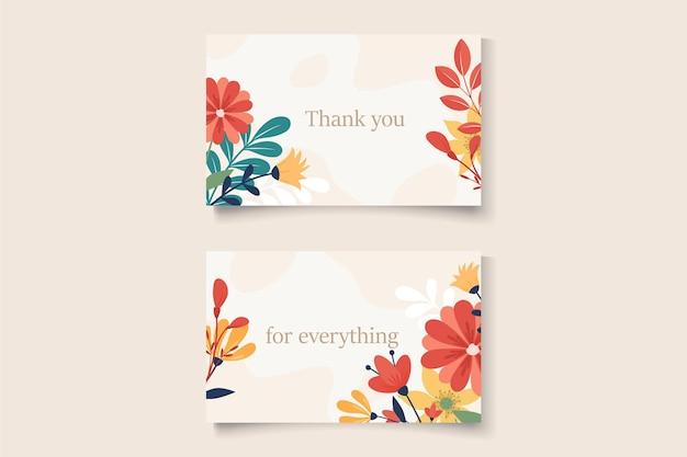 Grazie card design su un tema di fiori primaverili