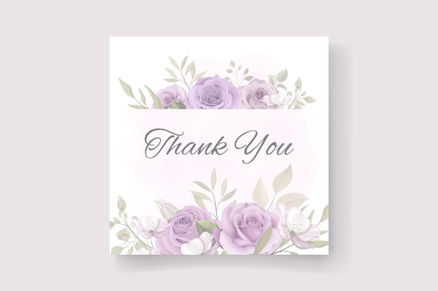 Biglietto di ringraziamento con motivi floreali dai colori tenui