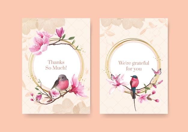 Grazie modello della scheda con l'illustrazione dell'acquerello di progettazione di concetto dell'uccello del fiore