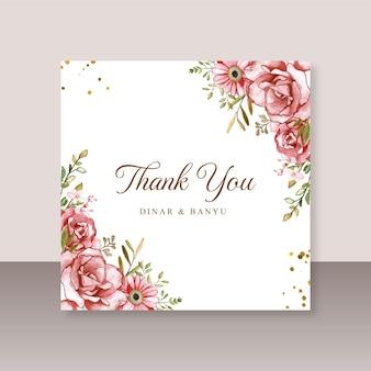 Modello di biglietto di ringraziamento con acquerello floreale