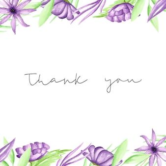 Grazie modello di carta con fiori acquerello viola disegnati a mano