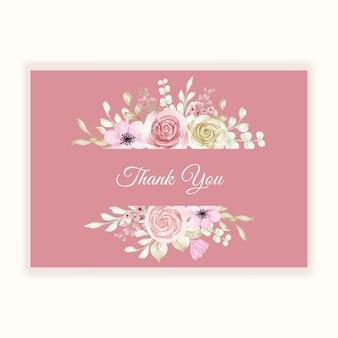 Biglietto di ringraziamento con cornice pastello floreale