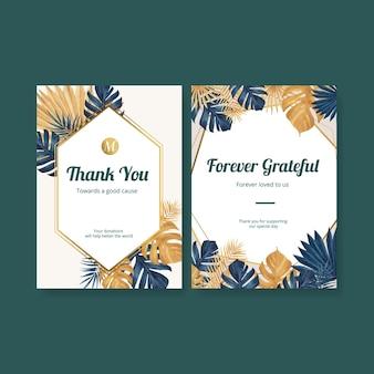 Biglietto di ringraziamento con acquerello floreale di pampa