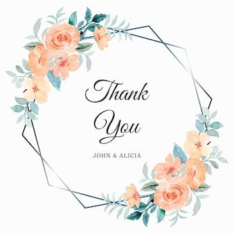 Biglietto di ringraziamento con cornice di fiori di rosa acquerello
