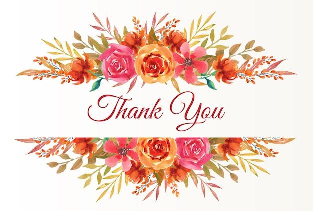 Biglietto di ringraziamento con bordo di fiori autunnali ad acquerello per invito a nozze