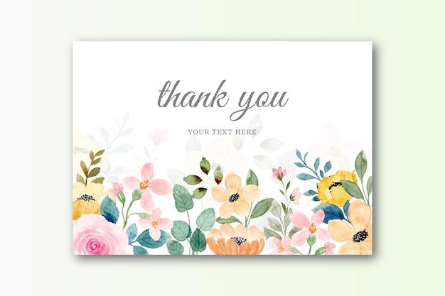 Biglietto di ringraziamento con sfondo di fiori ad acquerello