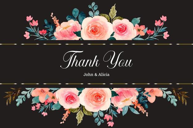 Biglietto di ringraziamento con bordo fiore rosa rosa acquerello