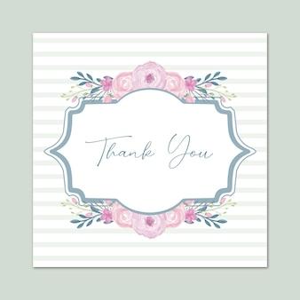 Biglietto di ringraziamento con disegno floreale vettoriale ad acquerello