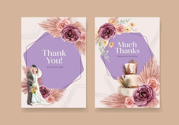 Biglietto di ringraziamento con illustrazione dell'acquerello di disegno di concetto di cerimonia di nozze