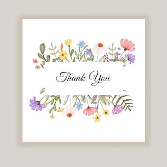 Biglietto di ringraziamento con illustrazione di fiori selvatici