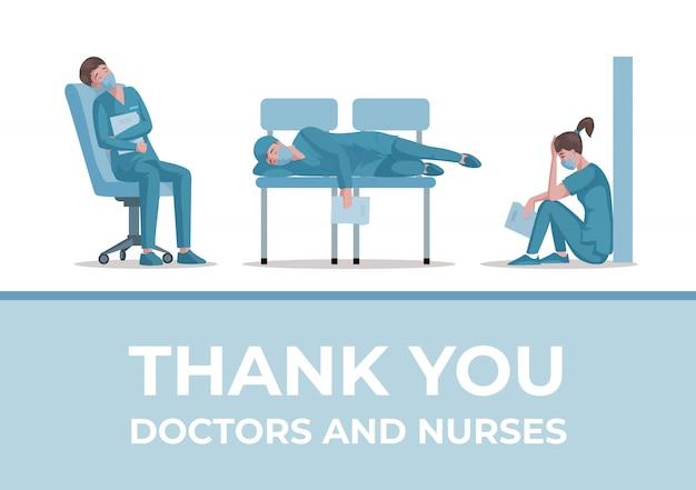 Grazie, medici e infermieri design del banner con il testo. ferma il concetto di poster coronavirus covid-19.