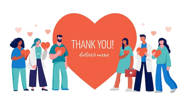 Grazie a medici e infermieri concept design - personale medico su un cuore rosso. illustrazione vettoriale
