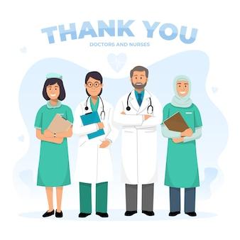 Grazie illustrazione di concetto di medici e infermieri