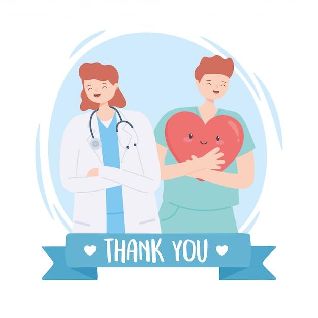Grazie dottori e infermiere, dottoressa con stetoscopio e infermiera maschio con cartone animato a cuore