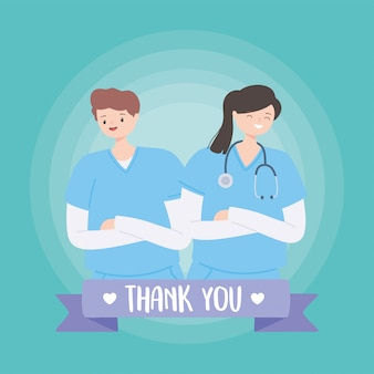 Grazie a medici e infermieri, infermiere di sesso maschile e femminile in cartone animato uniforme