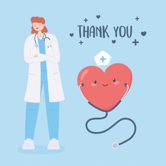 Grazie dottori e infermiere, dottoressa con stetoscopio e cartone animato a cuore