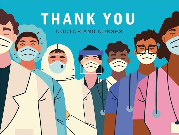 Grazie, medici e infermieri per la lotta contro l'illustrazione dell'infezione da coronavirus