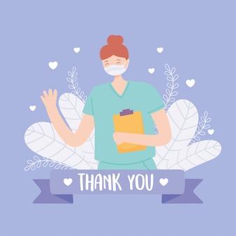 Grazie a medici e infermieri, infermiere professionista con mascherina medica e appunti