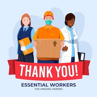 Grazie lavoratori essenziali illustrati
