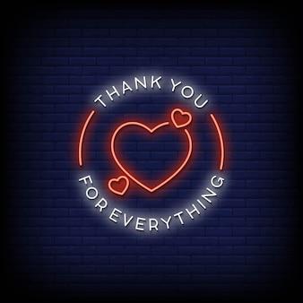 Grazie per tutto le insegne al neon in stile testo vettoriale