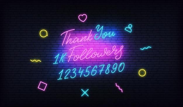 Grazie seguaci banner al neon